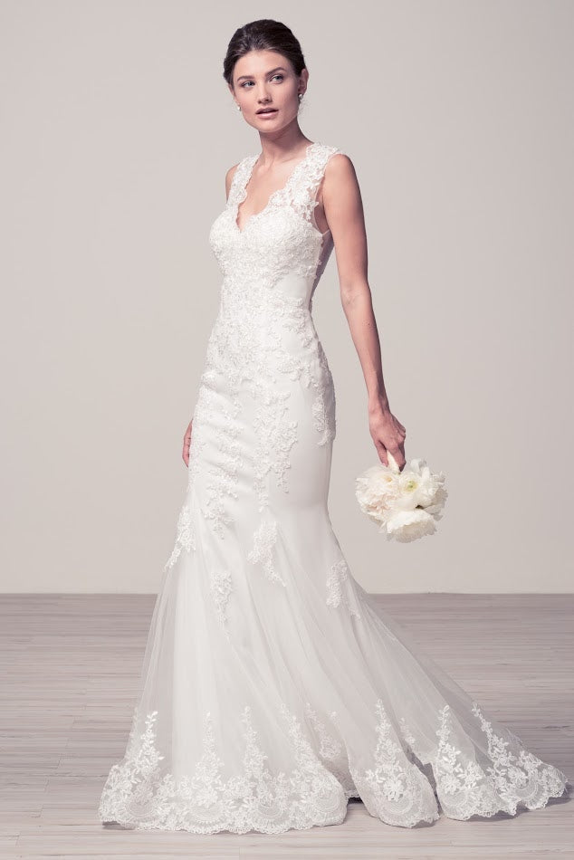 5db31dcad4b Affordable Mermaid Off white long Wedding dress with lace appliqué Bridal  Gown