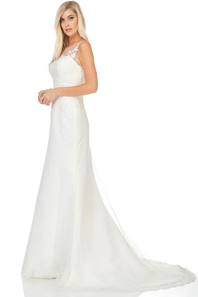 Designer Off White Wedding Dress Bridal Gown with detachable train
