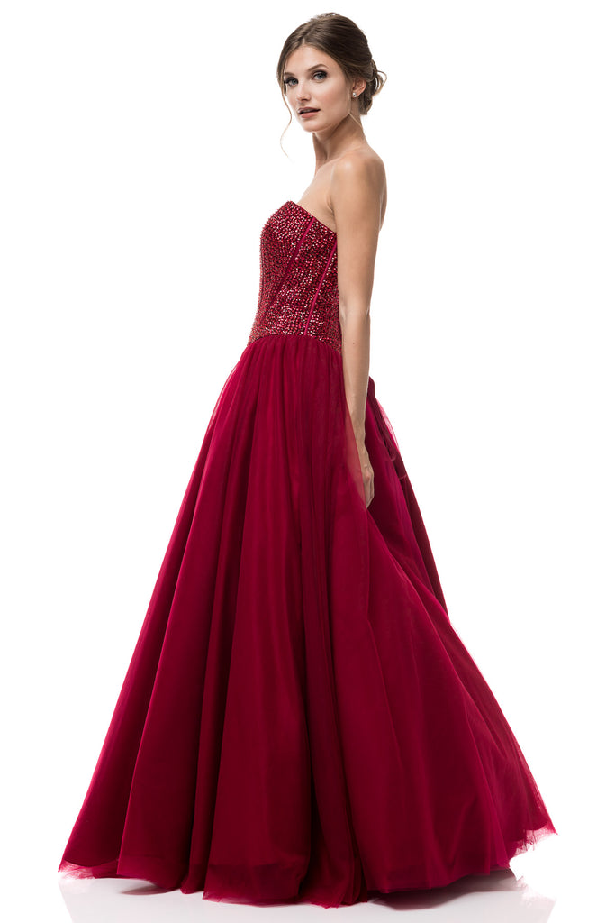 2018 Exclusive Prom Dress Strapless Corset Style Burgundy Ball Tulle