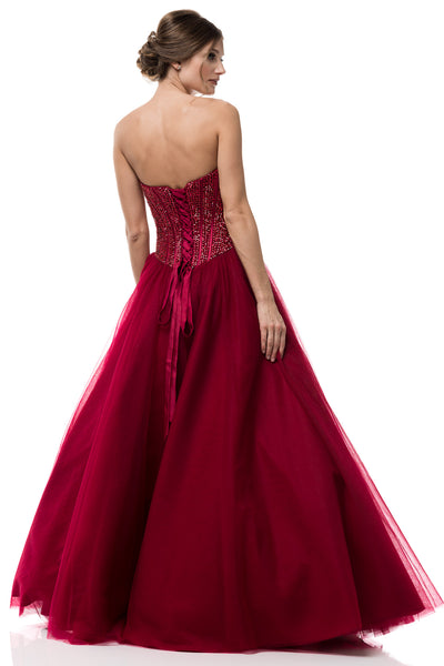2018 Exclusive Prom Dress Strapless Corset style Burgundy Ball Tulle Gown