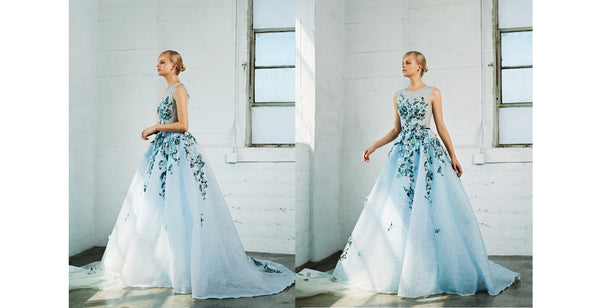Runway 2018 Sky Garden floral Prom Ball gown with 3d flowers Evening Dress