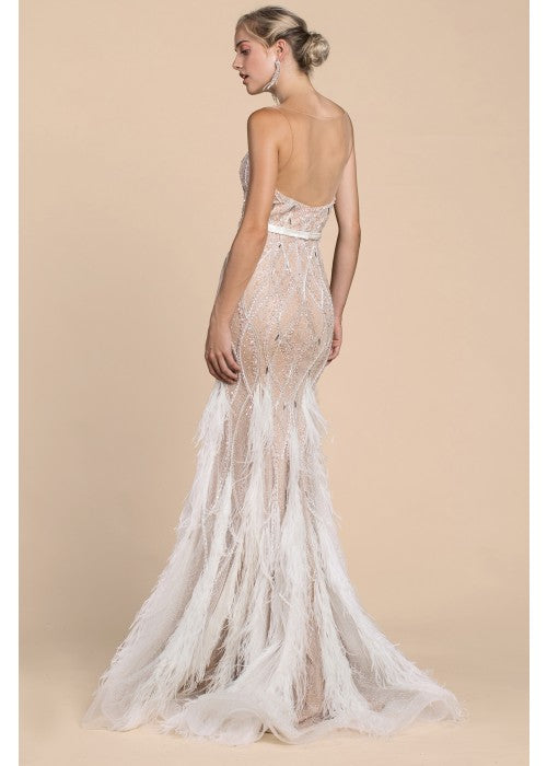 Strapless illusion Prom formal with fringe and feather unique Evening  Wedding Gown