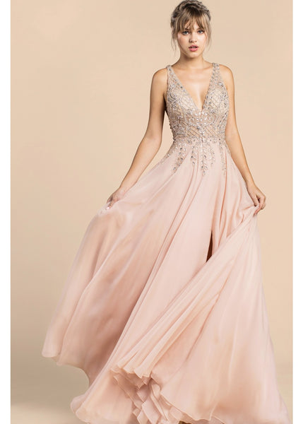 Blush illusion evening gown