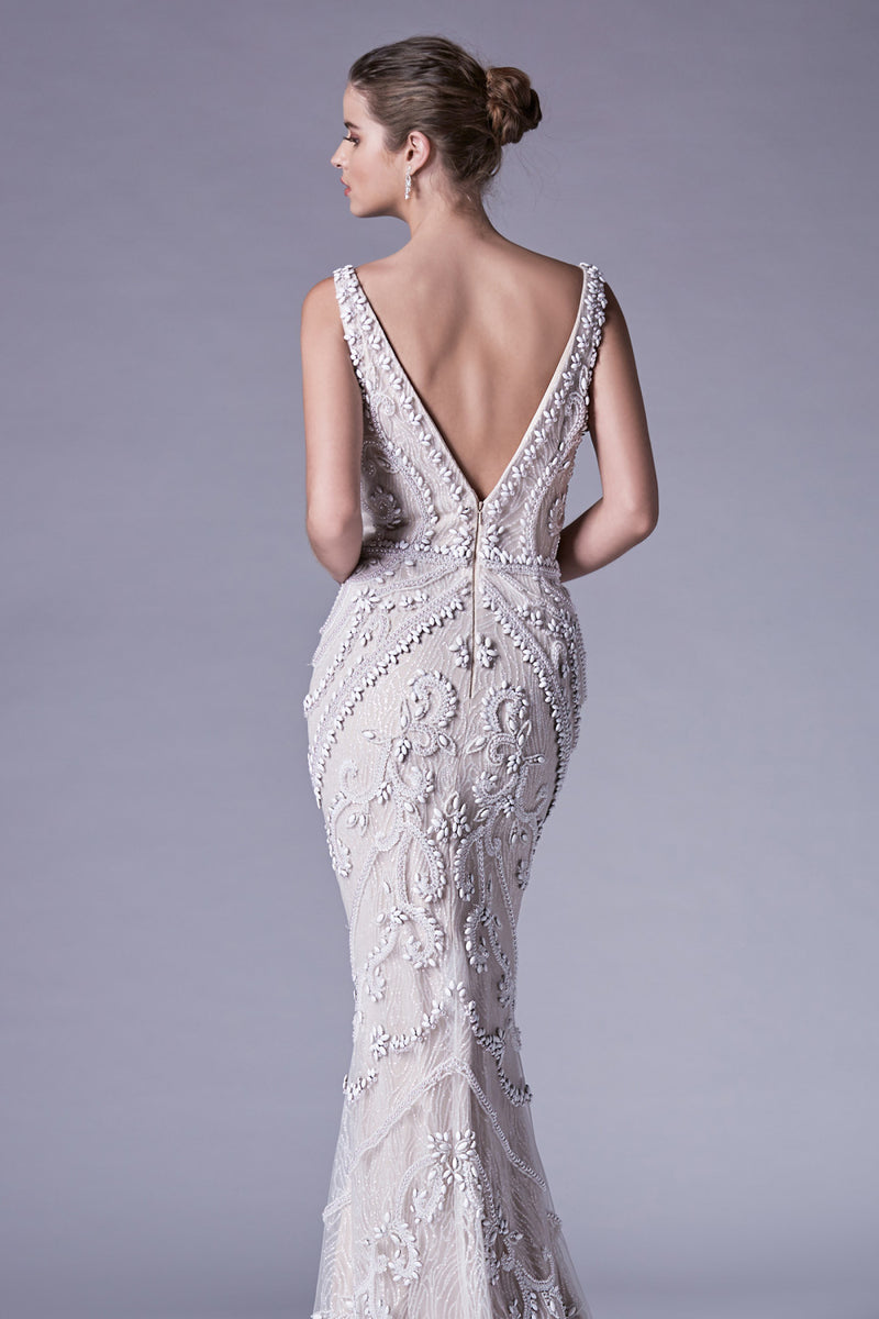 Opal Beaded And Glitter V-Neck Sheath Pageant Gown