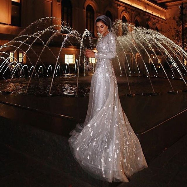 Silver Siren A line Elegant Pageant Gown alternative Wedding Dress