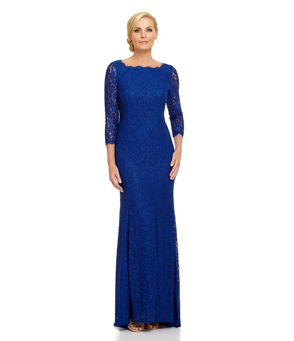 Adrianna Papell 3/4 Sleeves Scalloped Lace Gown Prussian Blue dress