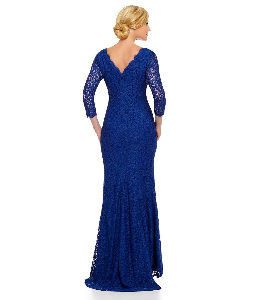 Adrianna Papell 3/4 Sleeves Scalloped Lace Gown Prussian Blue dress ...