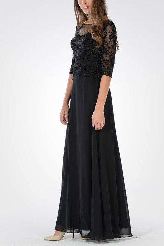 long sleeves mother of the bride dress