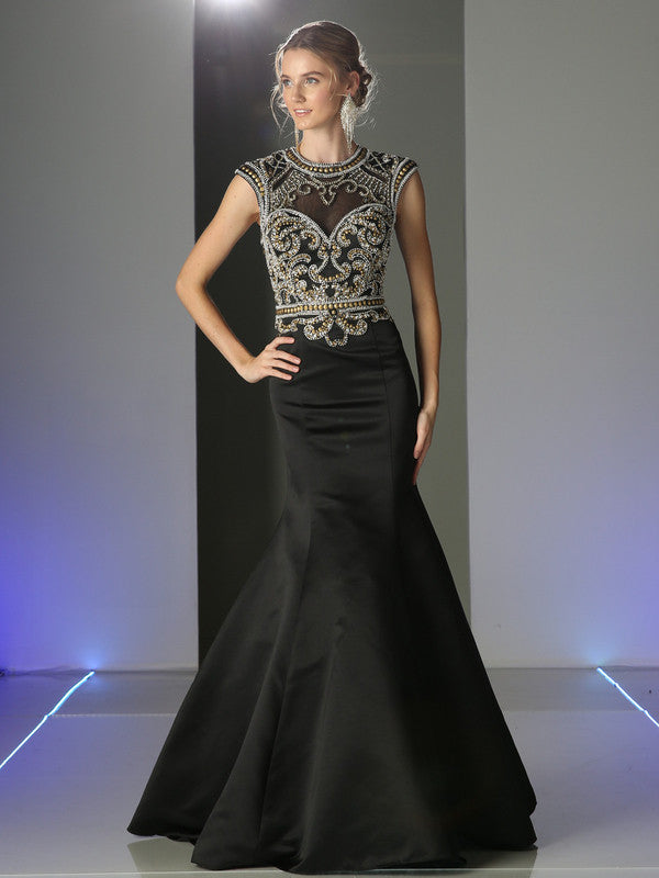 Designer Black Gold Trumpet Mermaid Beaded long prom dress Evening ...