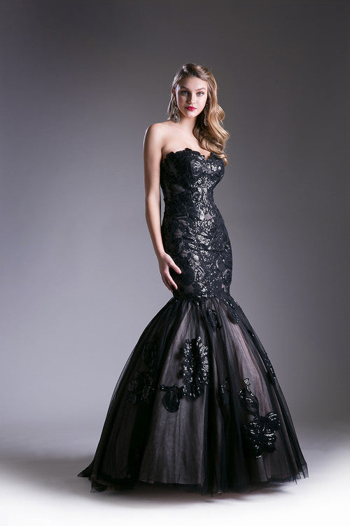 Jovani Style Strapless Tulle Mermaid Prom Dress In Blush And Black