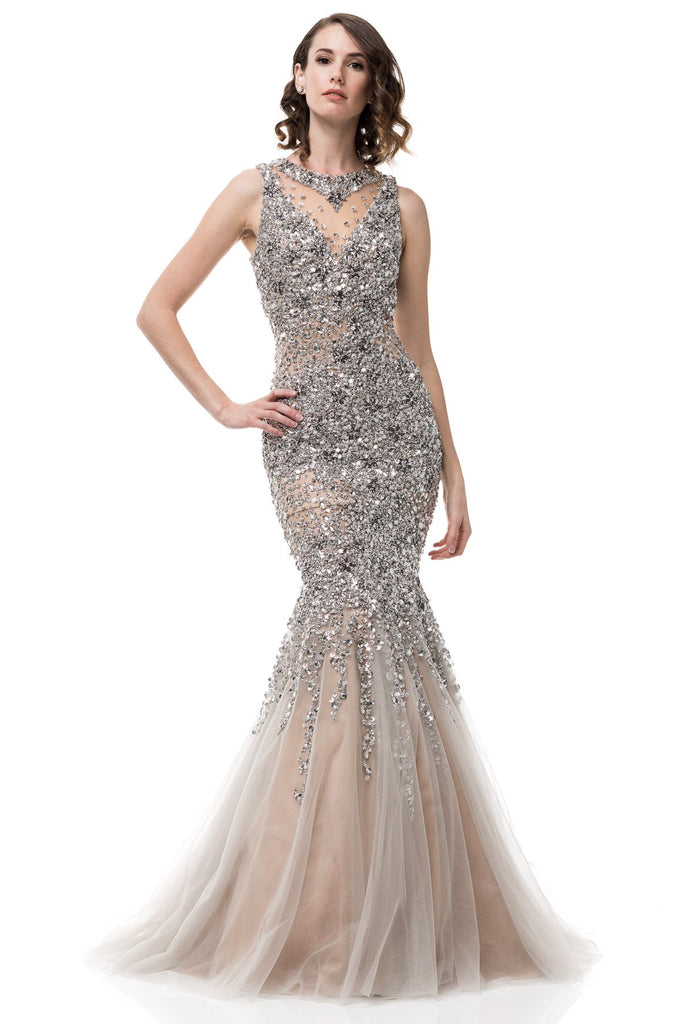 Bling it on Silver Embellished mermaid tulle Evening Gown Prom Dress ...