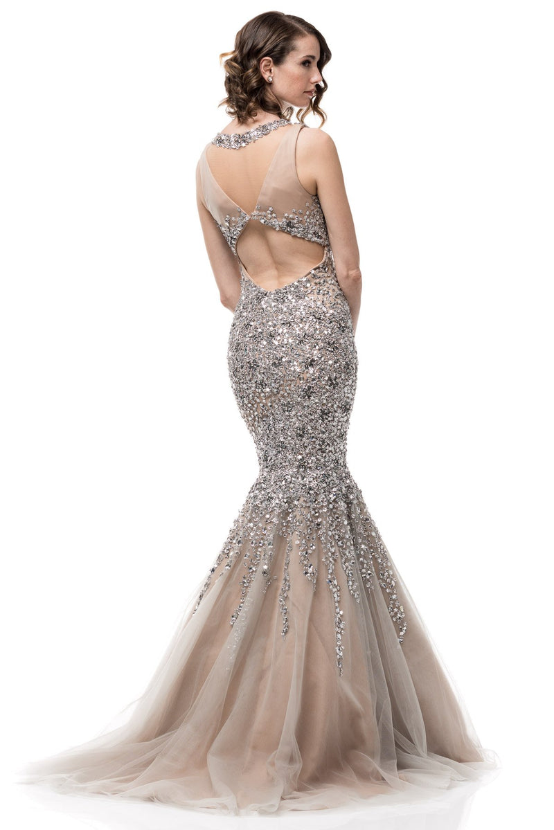 Bling it on Silver Embellished mermaid tulle Evening Gown Prom Dress