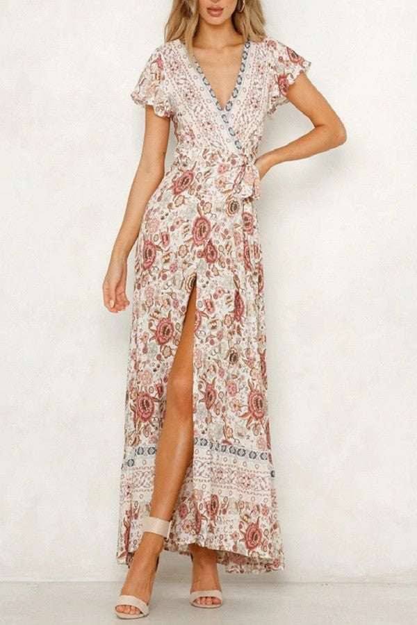 Boho floral long maxi high slit wrap dress