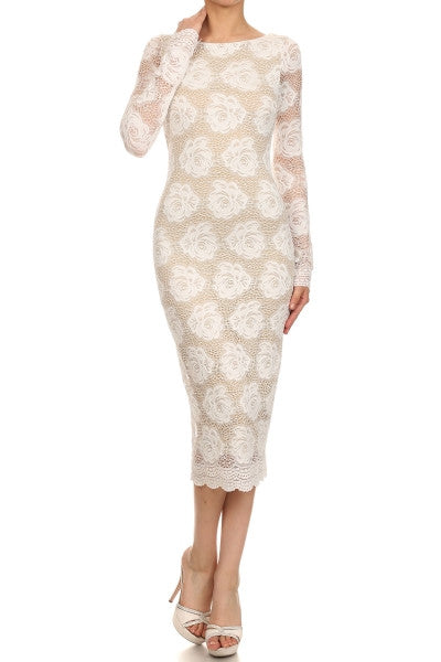 Floral Lace White nude long sleeves dress Bridal shower