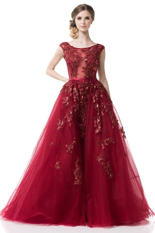 2018 Fairytale Prom Dress Long evening ball gown in Burgundy ...