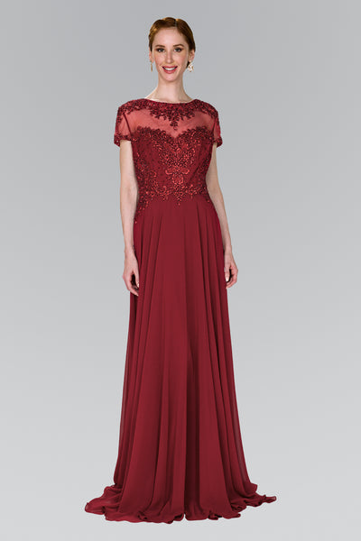 Burgundy Mother of the groom dress