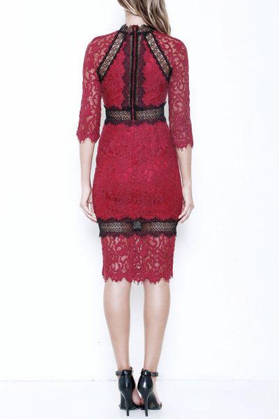 Same as Alexis Marisa Contrast Lace cocktail midi dress in Sage and Burgundy