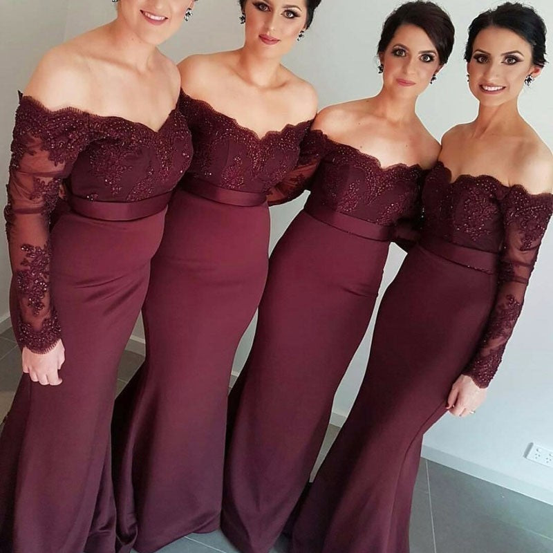 Off the Shoulder Long trumpet Lace sweep train Bridesmaid dress Evening mermaid Gown