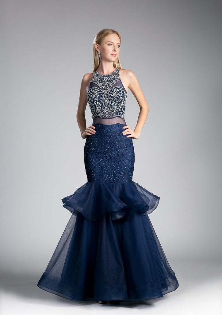 2018 Navy Mermaid Prom Dress