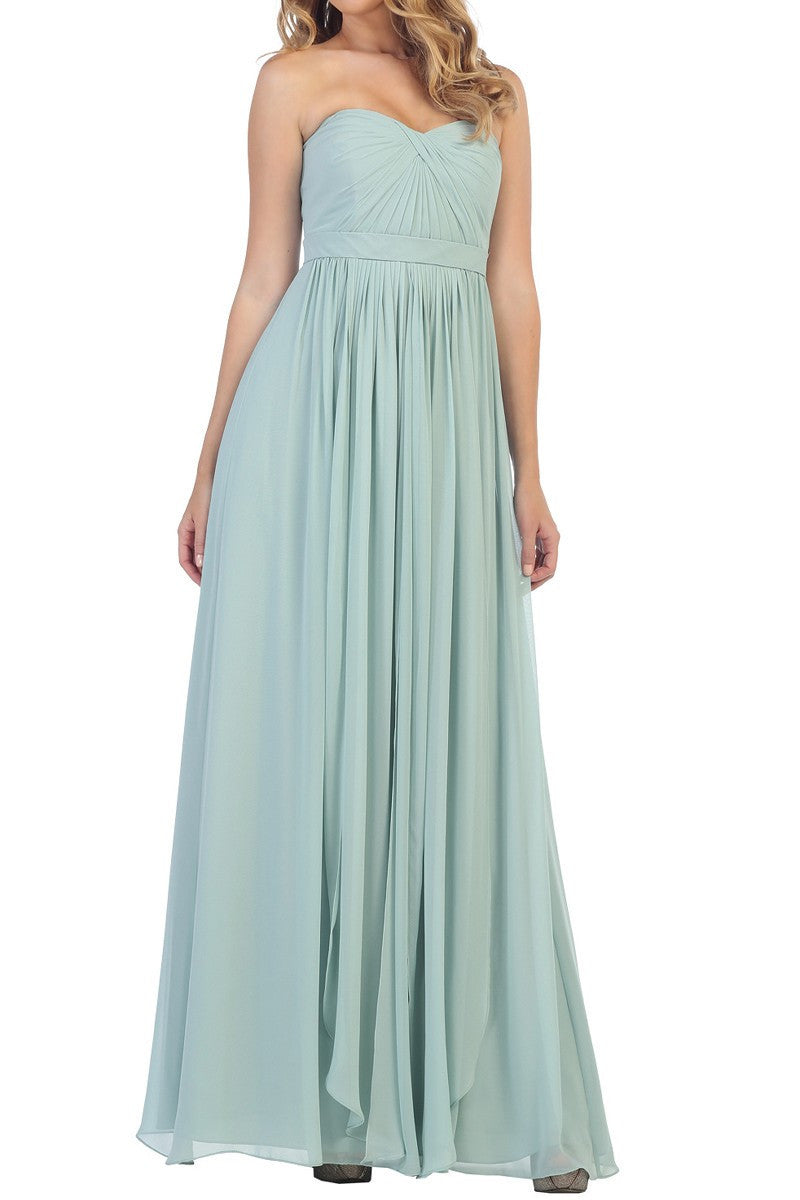 Affordable Long Chiffon Strapless Bridesmaid Dress Lavender, Sage, Blush