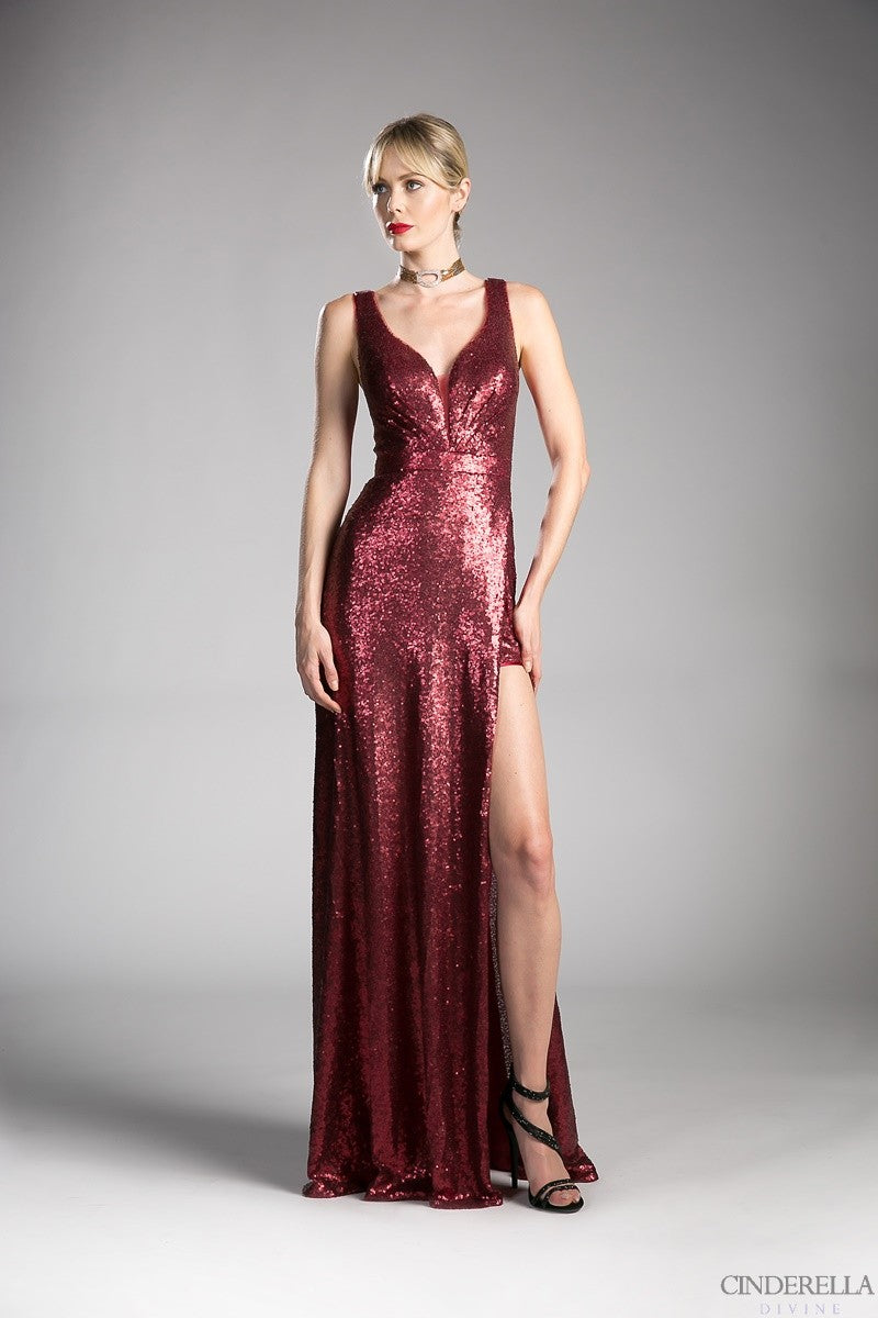 Burgundy sequin dress
