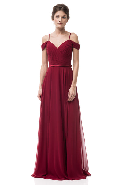 Burgundy Off the Shoulder Bridesmaid Dress