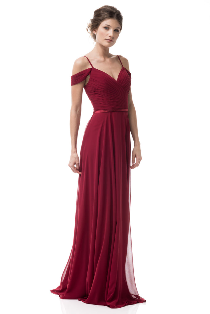 Chiffon a line don 39 t give me a cold shoulder long for Frugal fannies wedding dresses