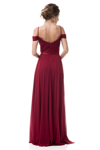 Chiffon A-line Don't give me a cold shoulder Long Bridesmaid dress in Navy and Burgundy