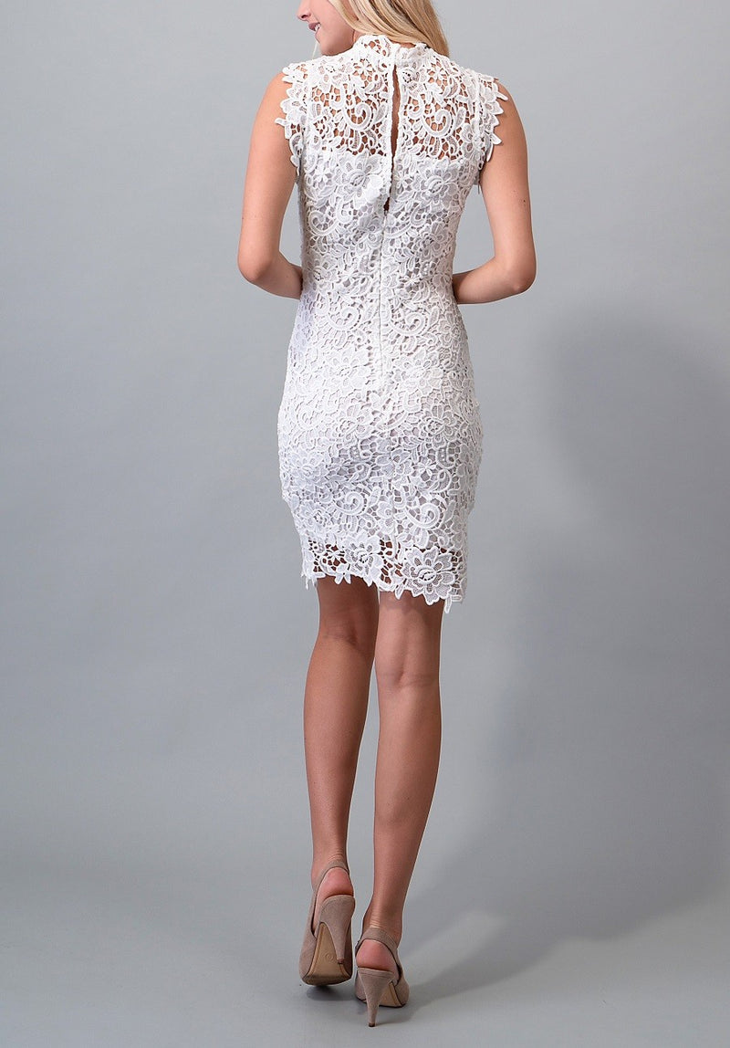 Wedding Guest Bridal shower illusion mock neck floral crochet dress