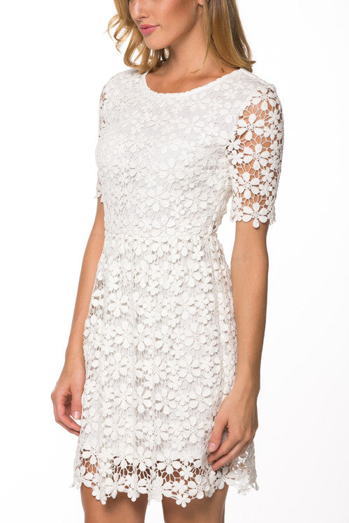 ivory crochet lace dress wedding bridal shower dress