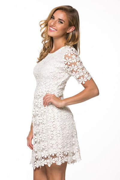 Ivory Crochet Lace Dress Wedding, Bridal Shower Dress