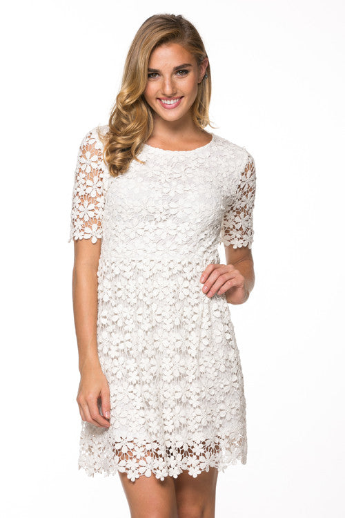Ivory Crochet Lace Dress Wedding Bridal Shower Dress Frugal Mughal