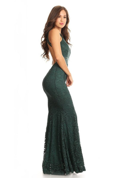 Fairy Forest Green Lace mermaid open back floor length Bridesmaid Dress 4 colors