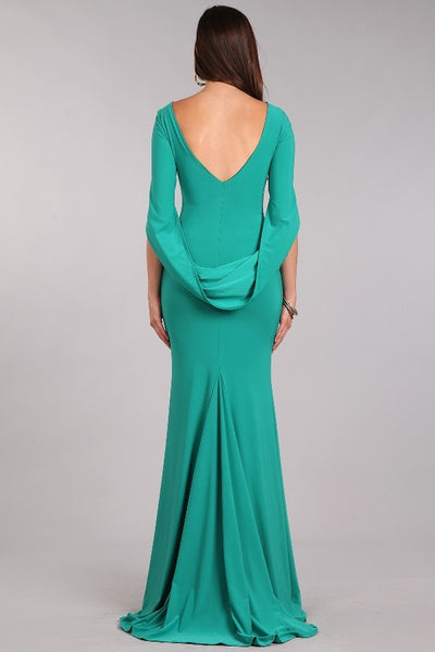 Floor Length Arial Mermaid long Green Draped Elegant Bridesmaid Dress