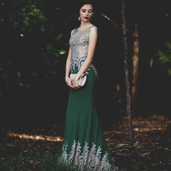 Green and Gold mermaid prom dress