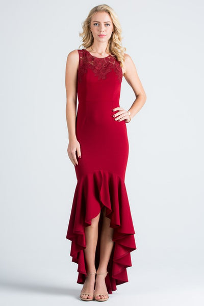 Ella Affordable High low mermaid bridesmaid dress in Navy, Burgundy and Mauve