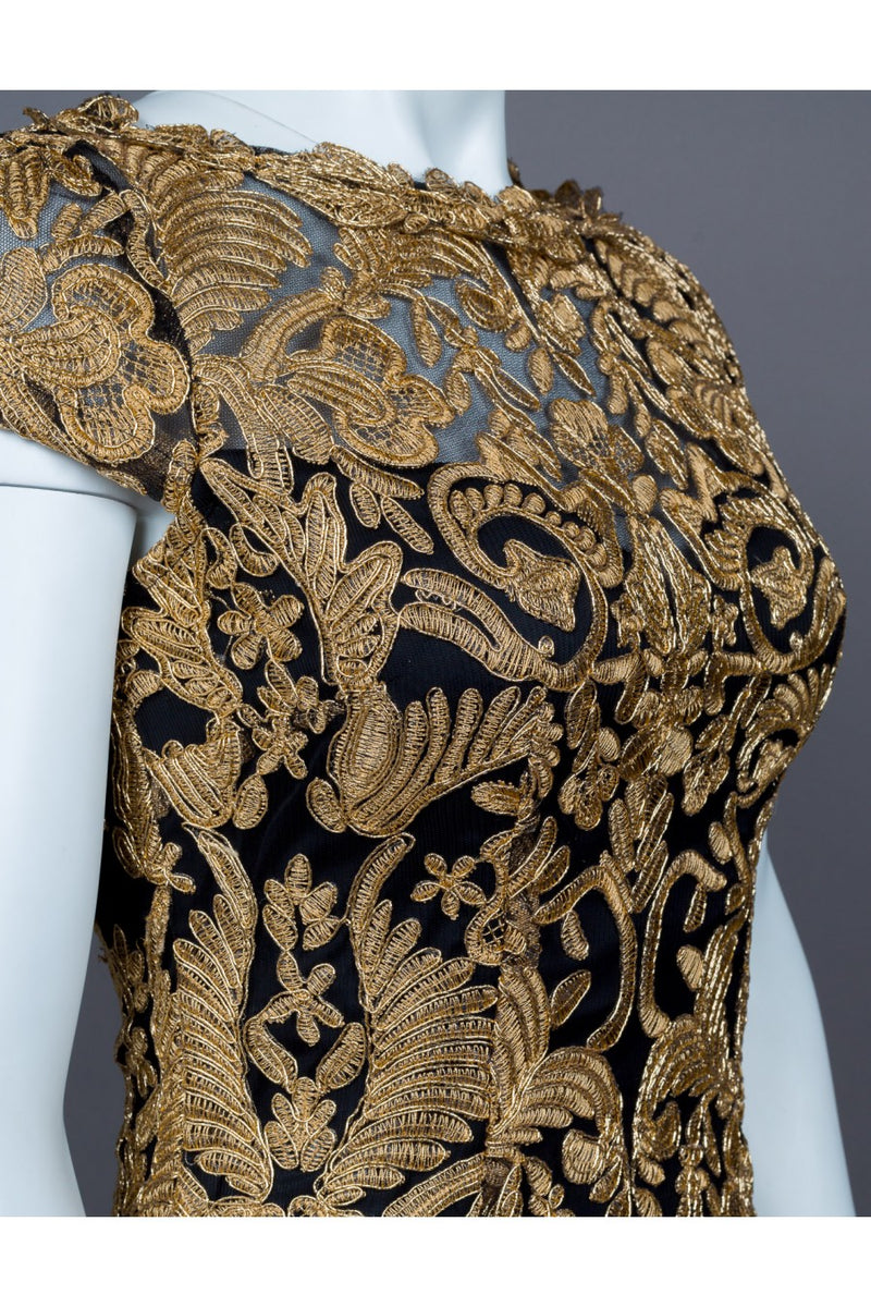 Black and Gold Baroque Needle and Thread Cocktail Wedding guest Dress