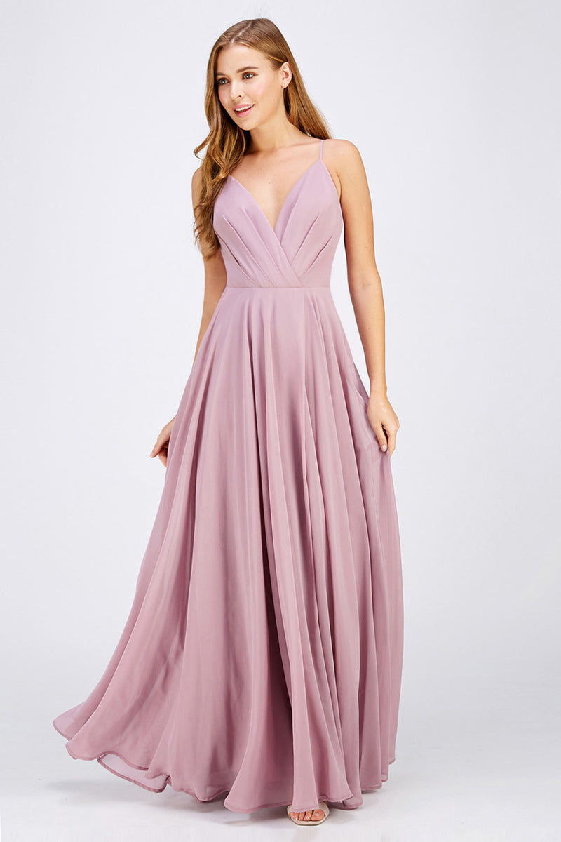 Mauve chiffon Bridesmaid Dress