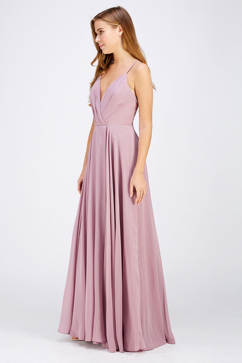 V-neck chiffon long bridesmaid maxi formal dress in 4 colors