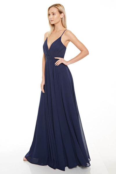 Long navy chiffon Bridesmaid dress
