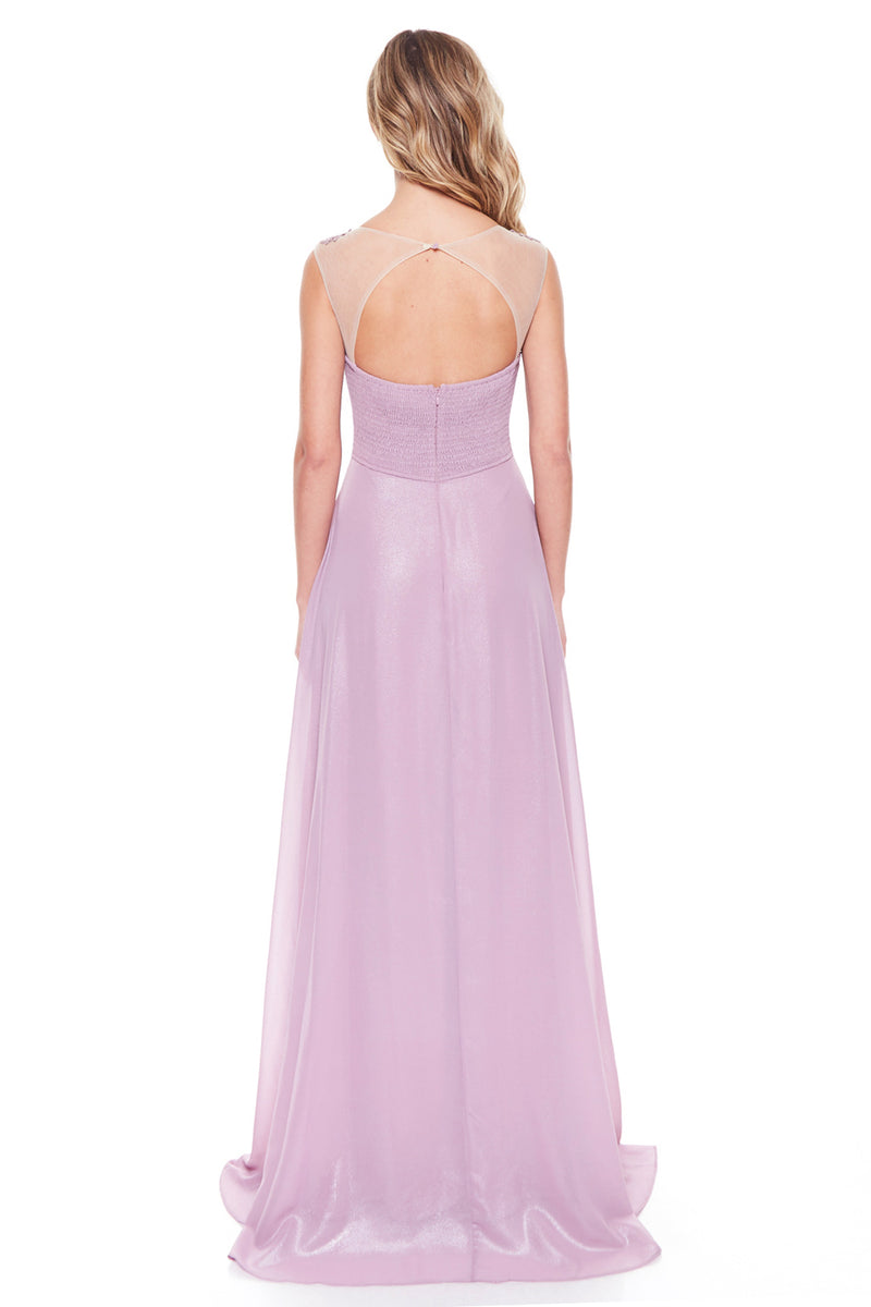 Affordable Floral trim Chiffon maxi long bridesmaid dress in Mauve, Navy and Blush