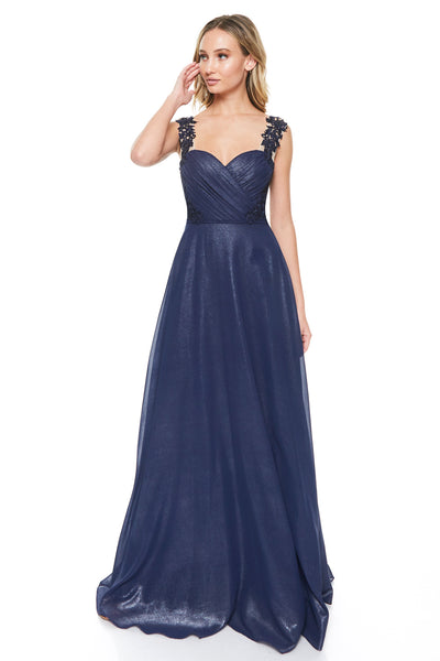Long Chiffon Navy Bridesmaid Dress