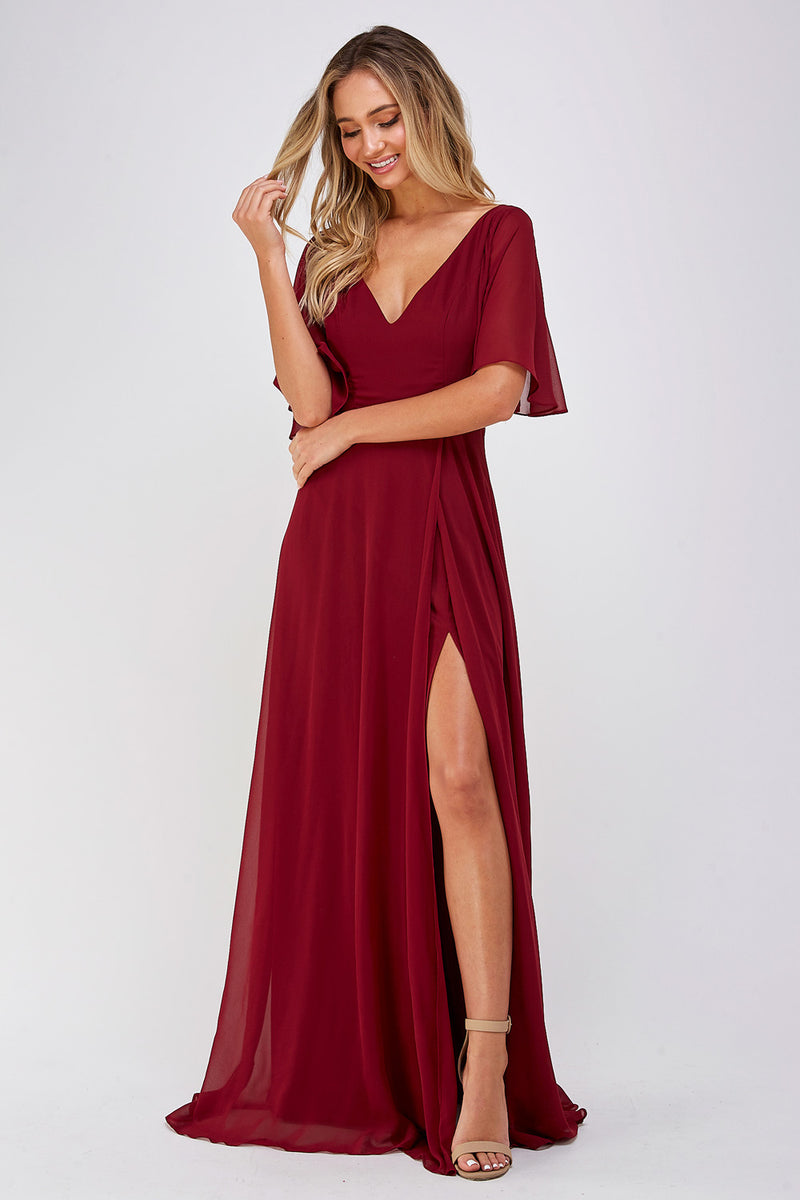 Burgundy Slit Maxi Dress