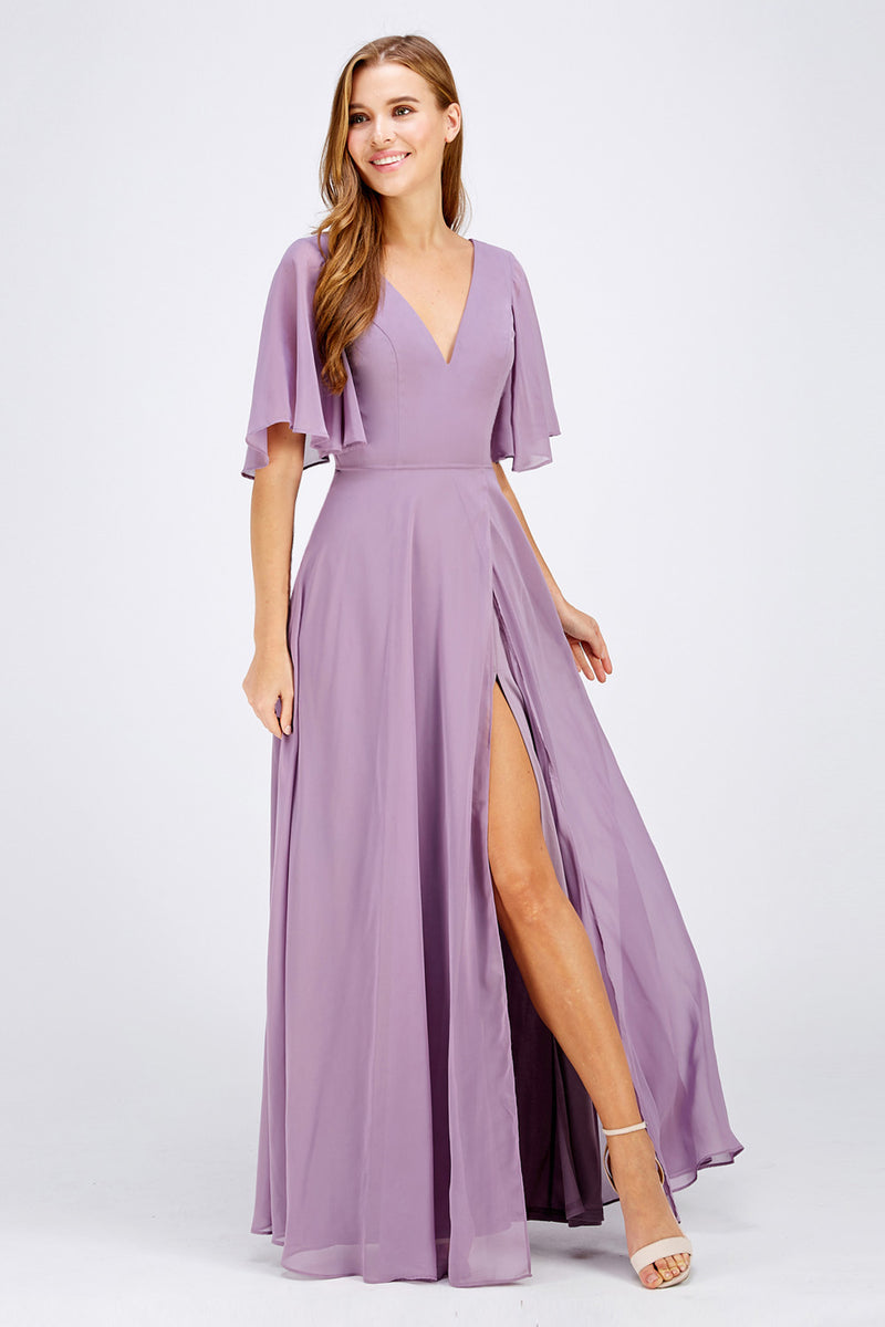Dark Lavender Bridesmaid Dress