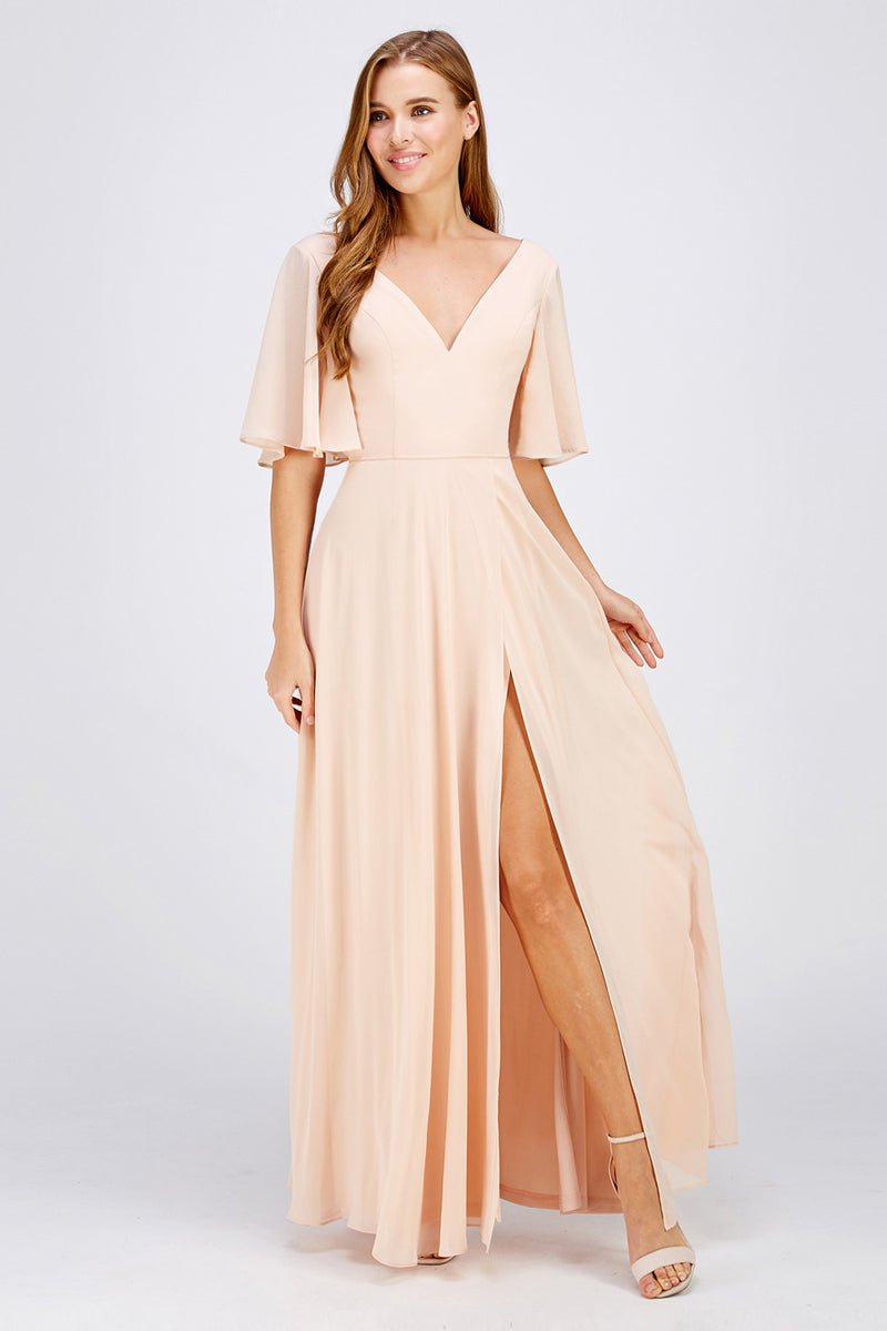 Blush slit maxi Bridesmaid Dress