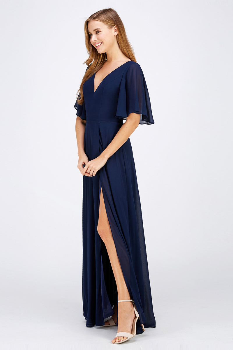 Navy slit maxi bridesmaid dress