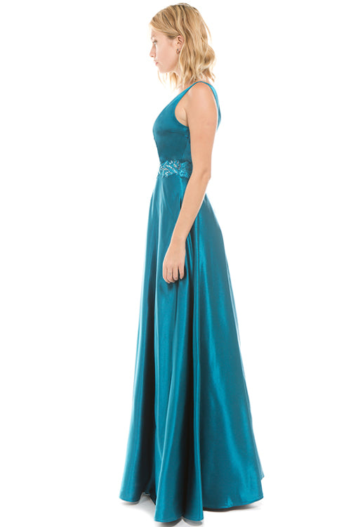 Affordable floor length Satin Tafetta Bridesmaid formal dress