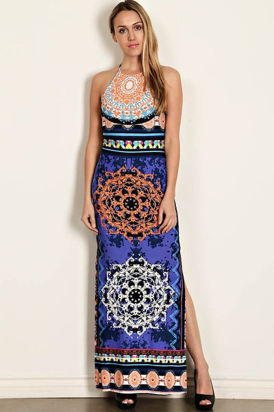 Gorgeous Medallion open back halter Maxi Dress