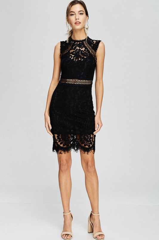 Black lace sheath mock neck dress