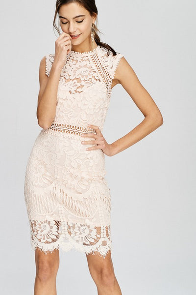 crochet lace mock neck dress